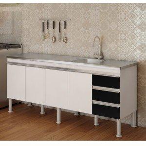 Balcão de Cozinha 4 Portas 173,5cm Ibiza MGM Móveis (Balcão Não Acompanha Tampo e Pia) Branco/Preto