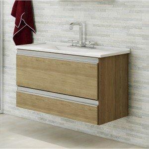 Gabinete para Banheiro com Cuba 1 Gaveta Treviso MGM Móveis (Não Acompanha Torneira) Nogueira