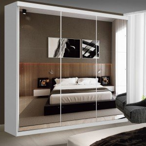 Guarda Roupa Casal com Espelho 3 Portas de Correr Isabela Siena Móveis Branco
