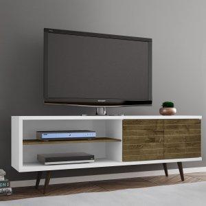 Rack para TV até 60 Polegadas 2 Portas Retrô Ônix Móveis Bechara Branco/Madeira Rústica