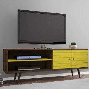 Rack para TV até 60 Polegadas 2 Portas Retrô Ônix Móveis Bechara Madeira Rústica/Amarelo