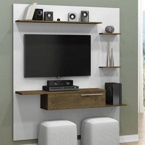 Painel para TV até 55 Polegadas 1 Porta Antares Móveis Bechara Branco/Madeira Rústica