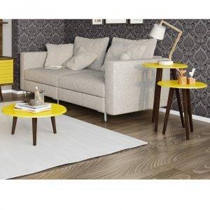 Conjunto Mesa de Centro e Mesas Laterais 3 Peças Móveis Bechara Amarelo