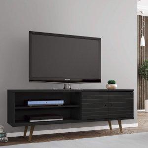 Rack para TV até 60 Polegadas 2 Portas Retrô Ônix Móveis Bechara Preto