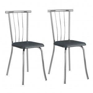 Conjunto 2 Cadeiras Galassi Carraro Móveis Jeans/Cromado
