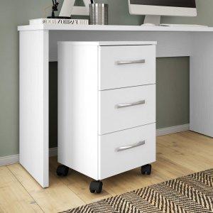 Gaveteiro 3 Gavetas Pietra Office Móveis Leão Branco Texturizado