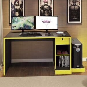 Mesa para Computador Desk Game DRX 3000 Móveis Leão Preto/Amarelo