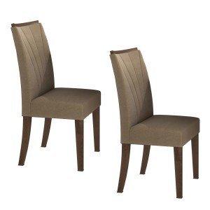 Conjunto 2 Cadeiras Apogeu Móveis Lopas Imbuia/Animale Bege