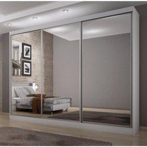 Guarda Roupa Casal com Espelho 3 Portas 8 Gavetas Udine Móveis Novo Horizonte Branco