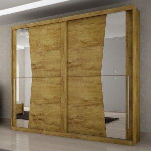 Guarda Roupa Casal com Espelho 2 Portas de Correr Geom Móveis Novo Horizonte Freijó Dourado