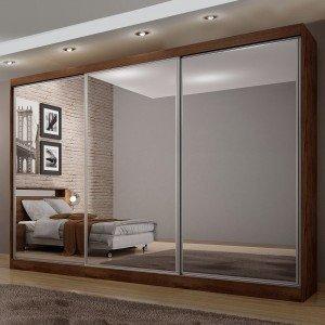 Guarda Roupa Casal com Espelho 3 Portas 8 Gavetas Udine Móveis Novo Horizonte Canela
