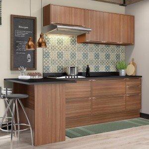 Cozinha Completa 8 Módulos 7 Portas Calábria Multimóveis Nogueira