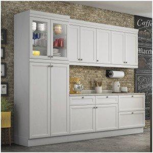 Cozinha Americana Completa com Balcão e Tampo 5 Peças Nesher Móveis Branco