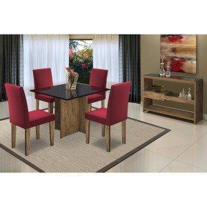 Sala de Jantar com Mesa Tampo MDF/Vidro 4 Cadeiras 1 Aparador Mariana/Giovana/Vanessa New Ceval Móveis Álamo/Preto/Vermelho