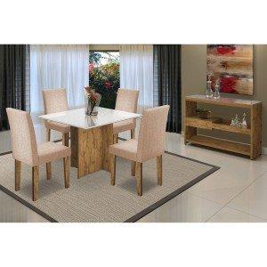 Sala de Jantar com Mesa Tampo MDF/Vidro 4 Cadeiras 1 Aparador Mariana/Giovana/Vanessa New Ceval Móveis Álamo/Off White/TL11