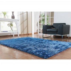 Tapete Clássico Liso Silk Shaggy Niazitex 1,40m x 2,00m Azul
