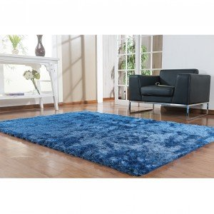 Tapete Clássico Liso Silk Shaggy Niazitex 2,00m x 3,00m Azul