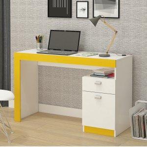 Escrivaninha 1 Porta 1 Gaveta Melissa Permobili Branco/Amarelo
