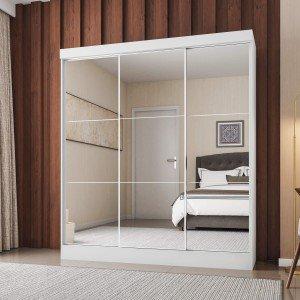 Guarda Roupa Casal 3 Portas com Espelho Orlando Siena Móveis Branco