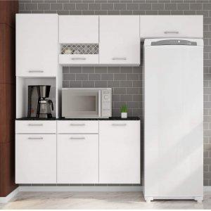 Cozinha Compacta Suspensa em L Balcão com Tampo 3 Peças 7 Portas Ana Poliman Móveis Branco