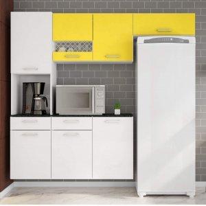 Cozinha Compacta Suspensa em L Balcão com Tampo 3 Peças 7 Portas Ana Poliman Móveis Branco/Amarelo