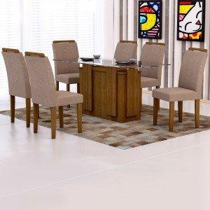 Conjunto Sala de Jantar Mesa Tampo Vidro 160cm Amsterdã 6 Cadeiras Athenas Rufato Ype/Animalle Chocolate