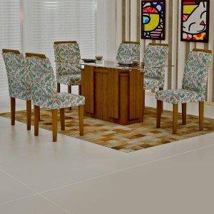 Conjunto Sala de Jantar Mesa Tampo Vidro 160cm Amsterdã 6 Cadeiras Athenas Rufato Ypê/Suede Medalhão