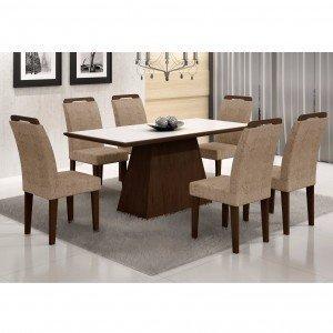 Conjunto Sala de Jantar Mesa Tampo Vidro/MDF Branco Luna 6 Cadeiras Athenas Rufato Castor/Suede Amassado Chocolate
