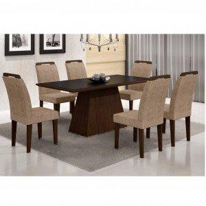 Conjunto Sala de Jantar Mesa Tampo Vidro/MDF Preto Luna 6 Cadeiras Athenas Rufato Castor/Suede Amassado Chocolate