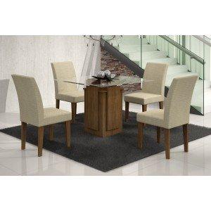 Conjunto Sala de Jantar Mesa Tampo Vidro Amsterdã 4 Cadeiras Grécia Rufato Ypê/Matelassê