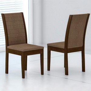 Conjunto 2 Cadeiras Aurora Rufato Imbuia/Animalle Chocolate