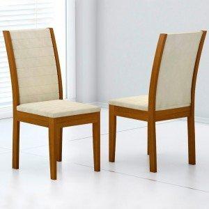 Conjunto 2 Cadeiras Aurora Rufato Imbuia/ Veludo Creme