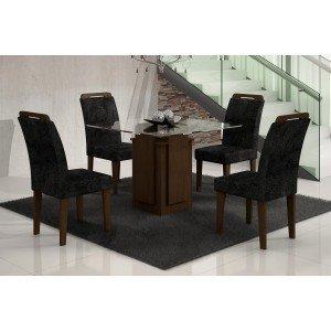 Conjunto Sala de Jantar Mesa Tampo Vidro Amsterdã 4 Cadeiras Athenas Amsterdã/Athenas Rufato Castor/ Penna Preto