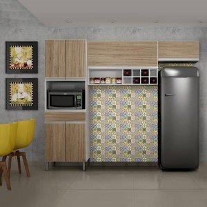 Cozinha Compacta 3 Peças com Nicho Adega Carrara Sallêto Móveis Branco/Castanho Argel