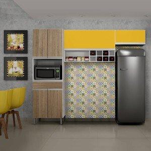 Cozinha Compacta 3 Peças com Nicho Adega Carrara Sallêto Móveis Branco/Castanho Argel/Maracujá 2