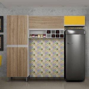 Cozinha Compacta 3 Peças Nicho Adega Florença Sallêto Móveis Branco/Casa Blanca/Maracujá 1