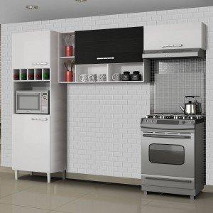 Cozinha Compacta 3 Peças com Paneleiro Adega Ágatha Sallêto Móveis Branco/Preto