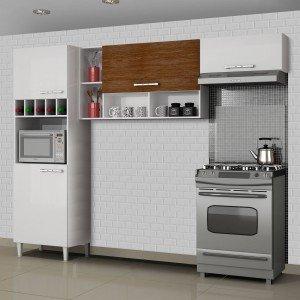Cozinha Compacta 3 Peças com Paneleiro Adega Ágatha Sallêto Móveis Branco/Nogueira
