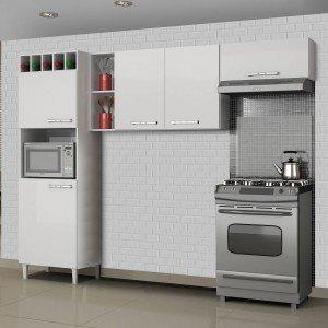 Cozinha Compacta 3 Peças com Paneleiro Adega Opala Sallêto Móveis Branco