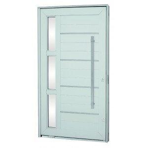 Kit Porta Pivotante com Friso e Vidro Alumínio 224cmx126cm Sasazaki Branco