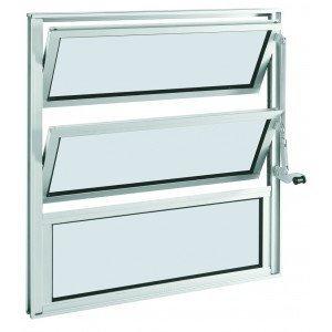 Janela Basculante Alumínio 2 Folhas Sasazaki 60cmx60cmx3,3cm Branco
