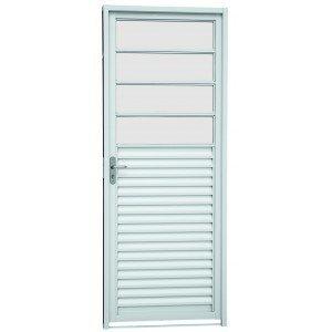 Porta Veneziana Aço Sasazaki 1 Folha com Vidros Horizontais Kompacta 217cmx87cmx6,5cm Branco