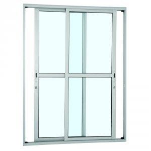 Porta de Correr Alumínio 2 Folhas com Vidro Alumifort Sasazaki 216cmx160cmx9,7cm Branco
