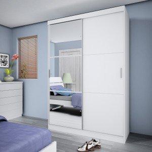 Guarda Roupa Solteiro com Espelho 2 Portas Nevada Siena Móveis Branco