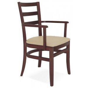 Cadeira Estofada com Braços Paris Sofie Tramontina Tabaco/Bege