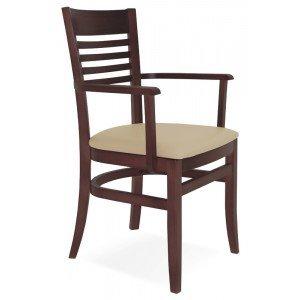 Cadeira Estofada com Braços Paris Marie Tramontina Tabaco/Bege