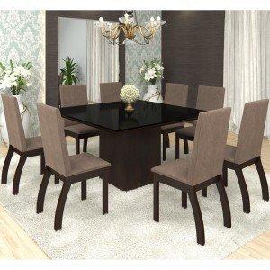 Conjunto Sala de Jantar Mesa Nesty e 8 Cadeiras Slin Lupy Siena Móveis Choco/Canela