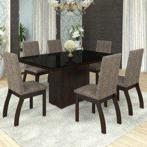 Conjunto Sala de Jantar Mesa Brize Tampo Preto 6 Cadeiras Slin Bibi Siena Móveis Choco/Canela