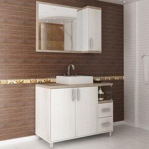 Gabinete para Banheiro com Espelheira Balcony Dallas 100 (Não acompanha torneira) Artico/Linho