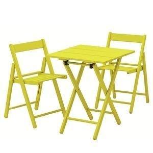 Conjunto Mesa e 2 Cadeiras Dobráveis Aconchego Tramontina Amarelo